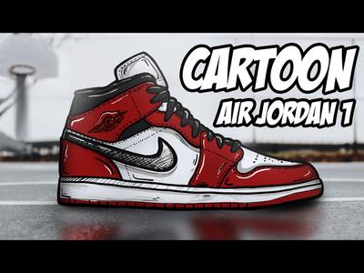 CARTOON AIR JORDAN 1 MID (BLACK/RED) MOCKUP USING PROCREATE