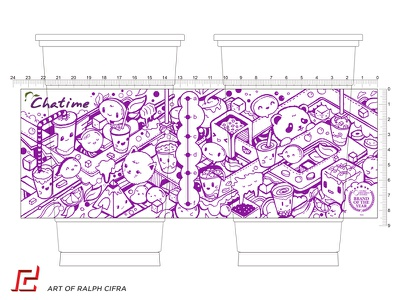 Chatime Cup Design Contest Entry traditional ink character milk tea cute design art illustration chatime