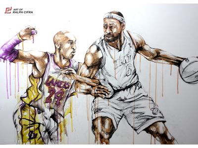 Kobe Bryant vs LeBron James (Acrylic Painting)