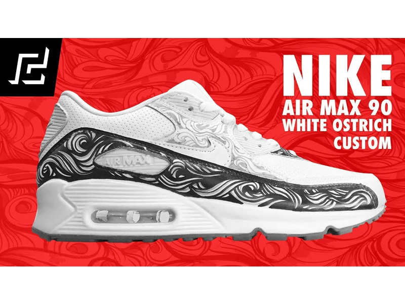 0437fd392db NIKE AIR MAX 90 (White Ostrich) CUSTOM USING A SHARPIE air max illustration  design