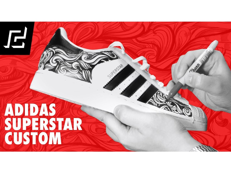 792592c1b9a9 ADIDAS SUPERSTAR CUSTOM DESIGN USING SHARPIE! waves abstract illustration  design custom shoe superstar adidas