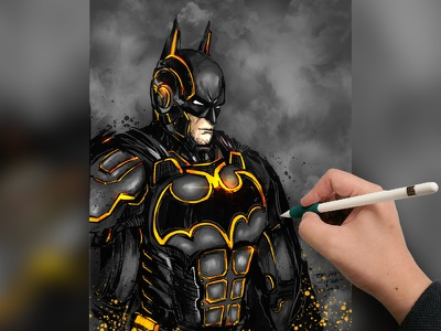Batman illustration using ink and Procreate yellow dark knight ipadpro color inking comicbooks drawing painting the batman digital paint ink batman v superman comics ipad design illustration art batman