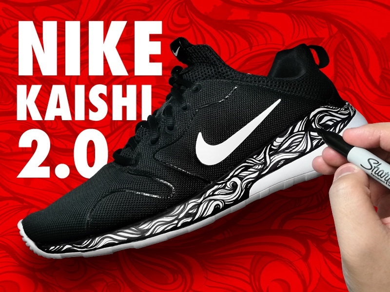 differently 494bb 89940 NIKE KAISHI 2.0 CUSTOM USING SHARPIE color custom rubber shoes kaishi 2.0  nike kaishi waves abstract