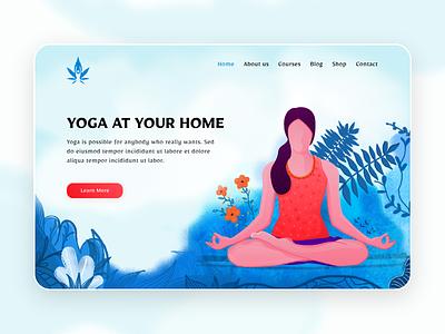 YOGA landing page anjum shorna illustraion dribble yoga yoga illustration art illustration cartoon illustration best design