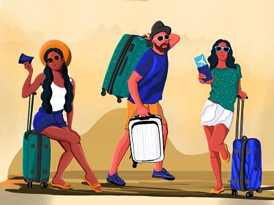 Characters illustration ui travel illustration anjum shorna travel app illustrations illustraion cartooning illustration art cartoon illustration best design