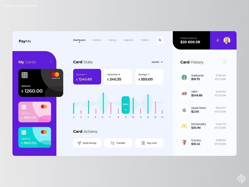 Pay Me Dashboard Design payme creditcard branding dashboard template