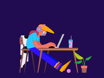 Dat Work from Home Life aftereffects animation illustration