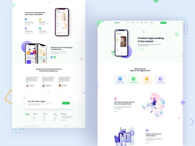 App Landing Home Page app trendy vector homepage interface website design prototype mobile app template social product design web design uiux minimal creative button app landing clean typography design