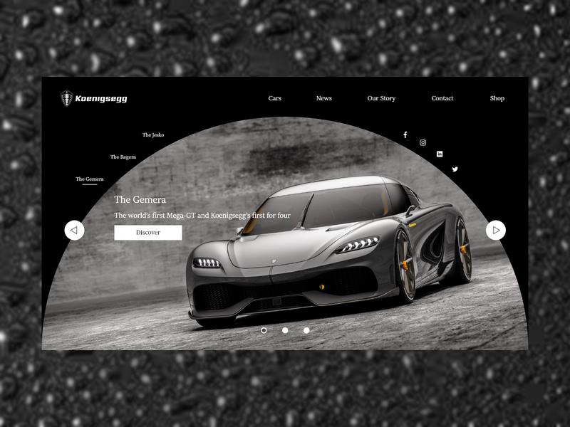 Koenigsegg Concept supercars supercar cars car photoshop adobe xd ux user experience user interface web design ui landing page