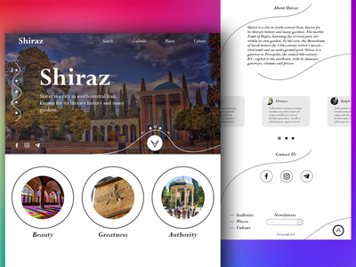 Shiraz iran city shiraz landing page design web design website adobe xd photoshop landing page user interface user experience ux ui