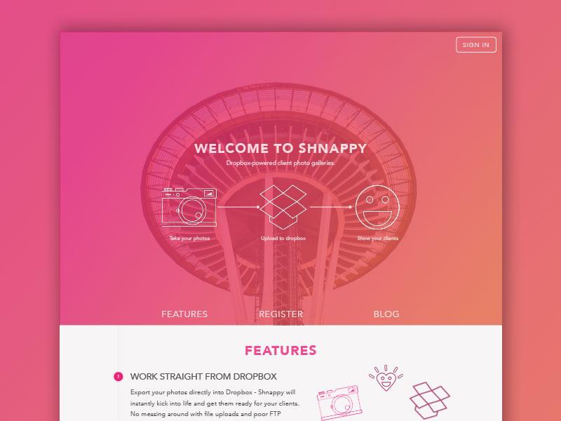 Shnappy Landing Page landing page marketing site web website web design photography start up pink orange hues clean