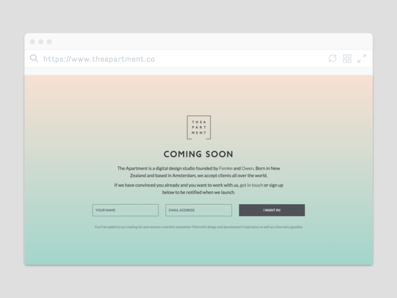 The Apartment - Coming Soon europe amsterdam coming soon page clean gradient design studio web design splash page landing page launch
