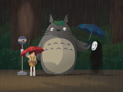 bus stop mix-up my neighbor totoro earth day spirited away no face totoro character design crossover fan art studio ghibli