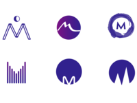 Logo iterations around the letter M
