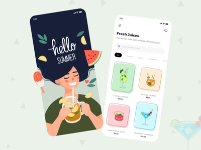 juice app woman fruit mocktail light dark black white clean app mockup cocktail icecream juice uidesign uiux minimalist