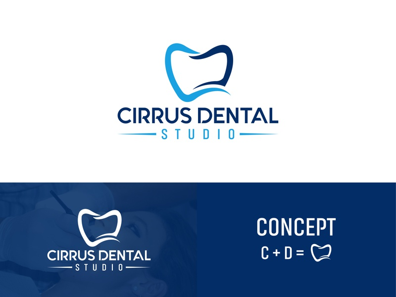 Cirrus Dental Studio web typography minimal lettering flat type logo branding dental logo illustrator vector