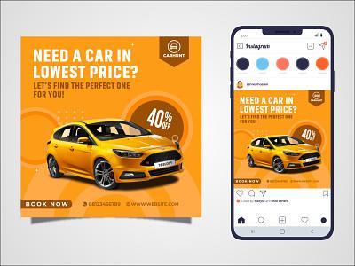 Car Social Media Post identity instagram template social media design social media post instagram post logo branding vector illustrator