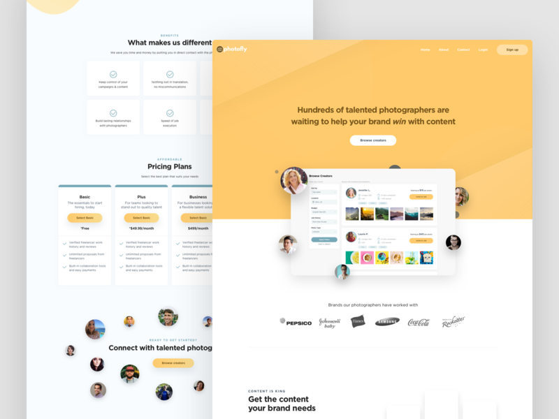 Photofly Landing Page (Yellow) landing page design website ux ui design ui app design uidesign design ux design ui design web design homepage design homepage landing page ui landing design landing page