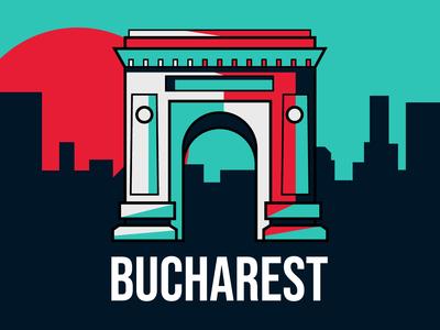 Bucharest's Arch of Triumph vector sunset illustration landmark city