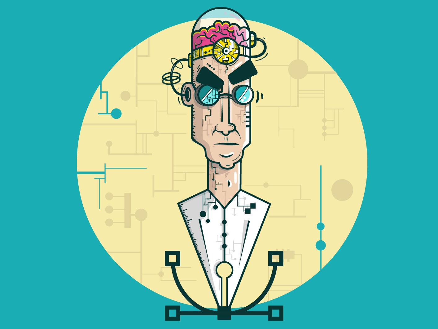 Mad doctor vector pentool crazy brain doctor mad illustration character