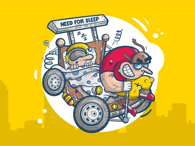 Need for Sleep cityscape character vector cartoon car crazy illustration