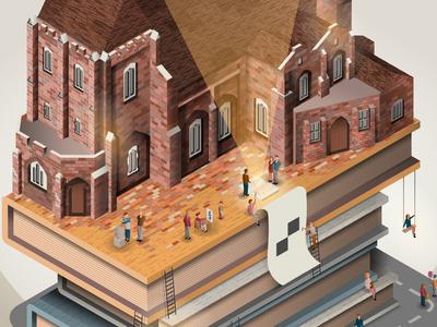 Landmark Challenge Detail street people books poetry bucharest vector miniature cathedral isometric illustration