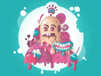 Sweet Addiction design addiction icecream vector chocolate monster sugar candy sweets illustration