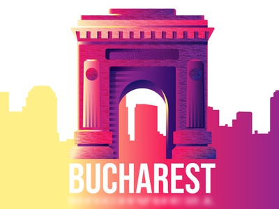 Bucharest's Arch of Triumph purple sunset colors city landmark bucharest gradient vector illustration