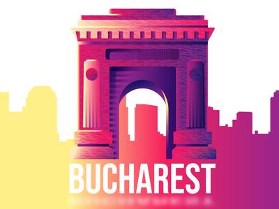 Bucharest's Arch of Triumph purple sunset colors city landmark bucharest gradient vector illustration