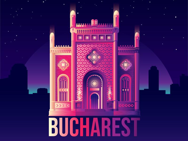 Bucharest's Coral Temple gradient stars night temple landmark city bucharest vector illustration