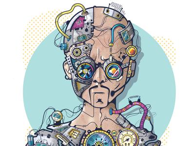 Ciber Criminal steampunk machine robot cartoon design character vector illustration
