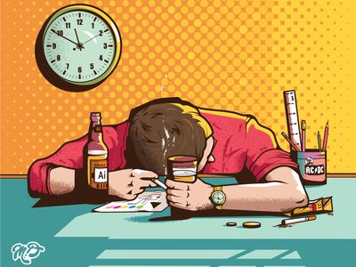 Late Night Work night beer character drunk workspace vector designer illustration