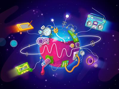 MilkyWaves Live Radio design colors stars mechanical planet art creative radio space vector illustration