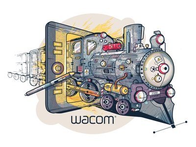Wacom Sticker Concept creativity train sticker concept wacom intuos graphictablet wacom design vector illustration