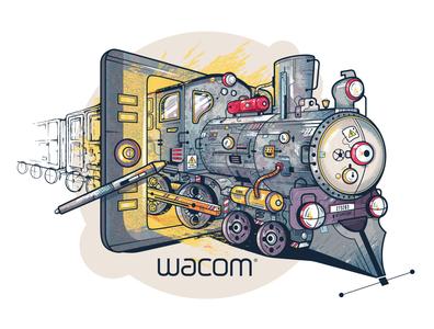 Wacom Sticker Concept creativity train sticker concept wacom intuos graphictablet wacom design vector illustration