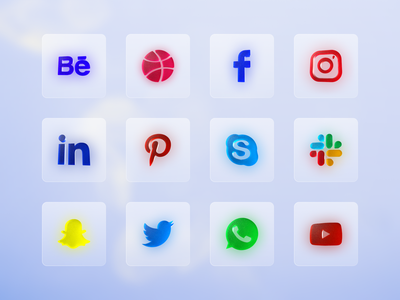 Important useful social icons - Light glass effect icon design mobile ui kit mobile app icons communication icons app design kits 3d icons brand icons social icons icon design