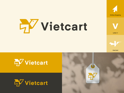 Vietcart logo household grocery animal symbol branding market store online shopping card bird