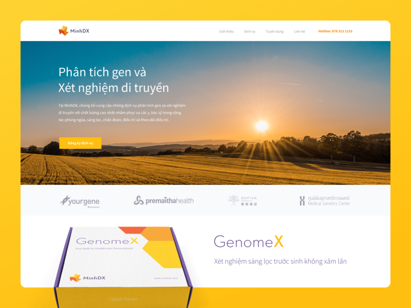 Mind DX website vietnam uidesign diagnostics logo packaging gene chemistry medical website branding and identity branding