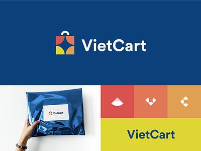 Vietcart logo vector mark logo brand freelance identity symbol vietnam colorful logodesign cart shopping branding work in process