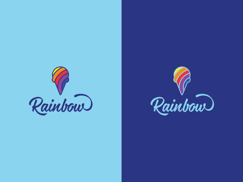 Rainbow 2 script colorful rainbow freelance brand icecream vietnam design logo
