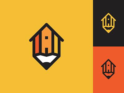 Pencil + House logo architecture house pencil mark symbol design vietnam freelance brand