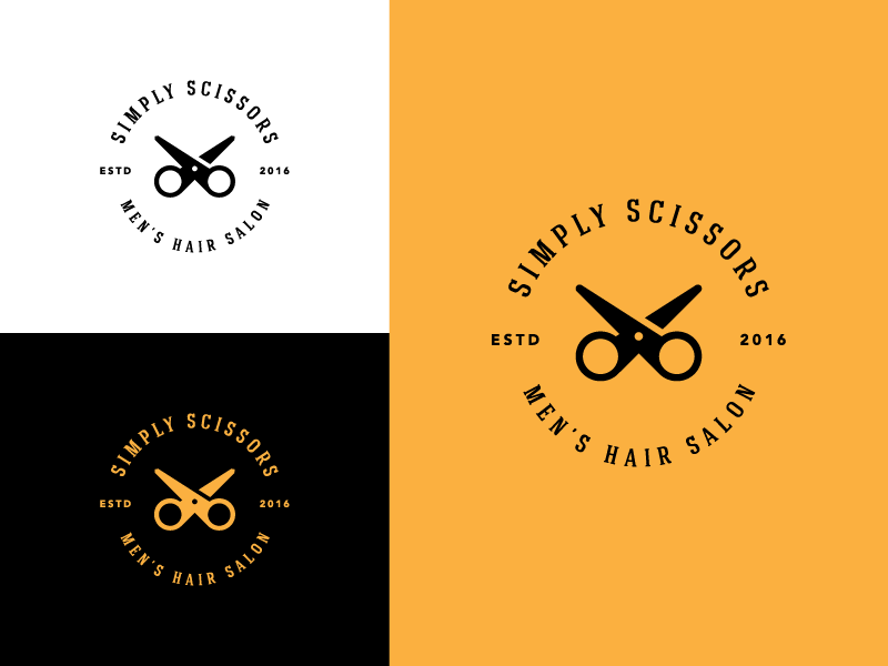 Simply Scissors logo mark symbol freelance classic vintage stylish barber cut men salon hair