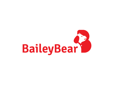 Bailey Bear logo concept letter red negative pet toy accessories dog