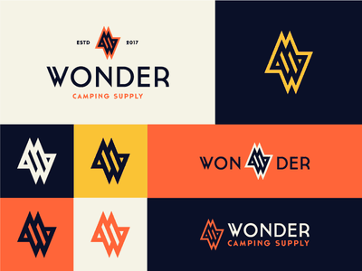Wonder logo identity brand business company classic w mark star travel camping supply
