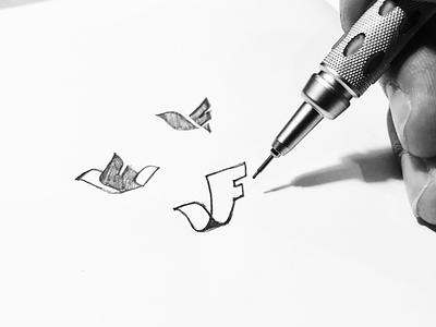 VF + Bird monogram letters animal mark symbol identity logo sketch