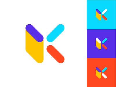 K Monogram unused flat technology software app branding symbol colorful letter