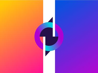 O + Thunder circle gradient letter nature monogram symbol unused