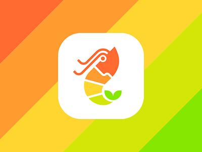 Shrimp + Seed logo restaurant food taste seafood colorful unused symbol logo