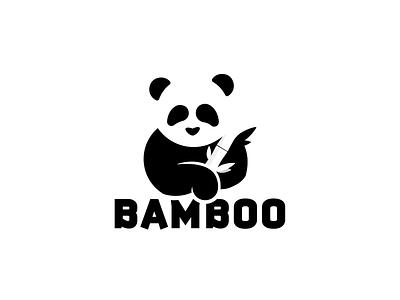 Panda logo__Day 3/50 dailylogochallenge bear brand black  white monogram icon identity symbol freelance bamboo