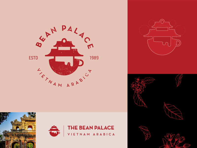 Coffee shop logo concept_Day 6/50 classic bean palace traditional coffeeshop monogram icon logo brand illustration design vietnam